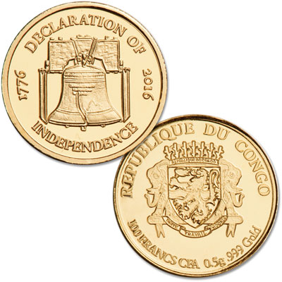 Image for 2016 Congo 1/2 gram Gold 100 Francs from Littleton Coin Company