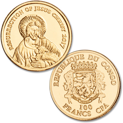 Image for 2017 Congo 1/2 gram Gold 100 Francs Jesus Christ from Littleton Coin Company