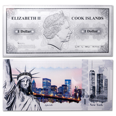 Image for 2017 Cook Islands 5 Gram Silver $1 New York Note from Littleton Coin Company