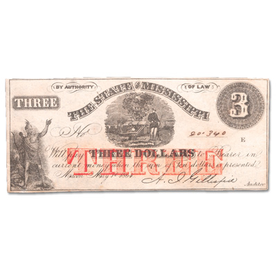 Image for 1864 $3 State of Mississippi Note from Littleton Coin Company