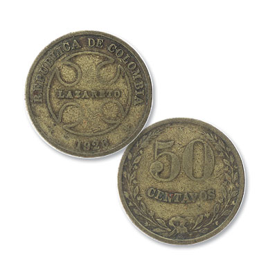 Image for 1928 Colombia Brass 50 Centavos Leper Coin from Littleton Coin Company