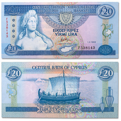 Image for 1993 Cyprus 20 Pounds, P#56b, Uncirculated from Littleton Coin Company