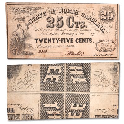 Image for 1863 25¢ Southern States Note - Raleigh, North Carolina from Littleton Coin Company