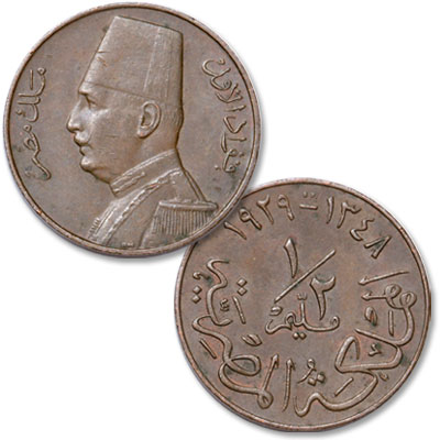 Image for AD1929 Egypt Bronze 1/2 Mil King Fuad from Littleton Coin Company