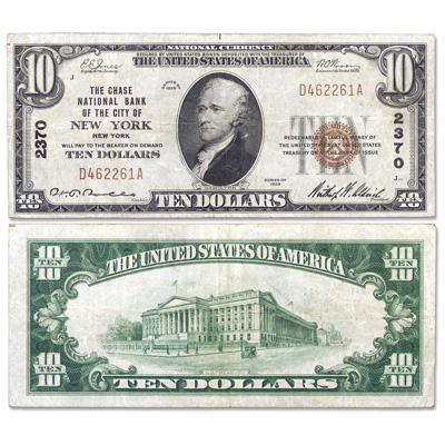 Image for Series 1929 $10 National Bank Note, Type 1 NYC VF from Littleton Coin Company