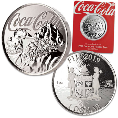Image for 2019 Fiji 1 oz. Silver $1 Coca-Cola Santa from Littleton Coin Company