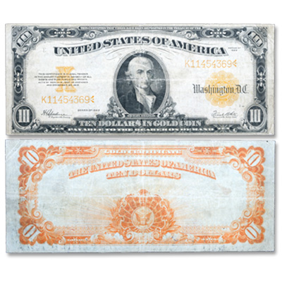 Image for 1922 $10 Gold Certificate Large Size from Littleton Coin Company