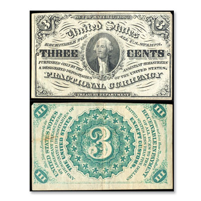 Image for 3¢ Fractional Currency Note from Littleton Coin Company