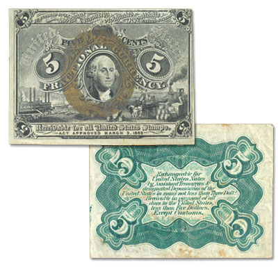 Image for 1863-1867 5¢ Fractional Currency Note from Littleton Coin Company