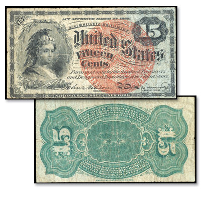 Image for 15¢ Fractional Currency Note from Littleton Coin Company