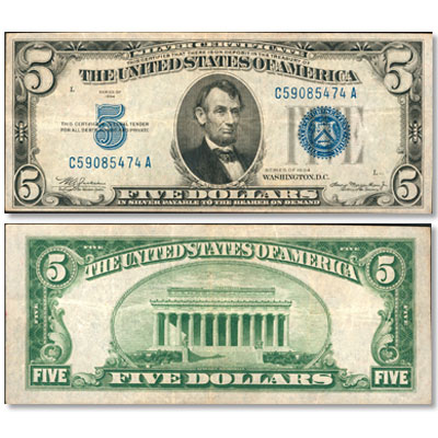 Image for 1934 $5 Silver Certificate from Littleton Coin Company