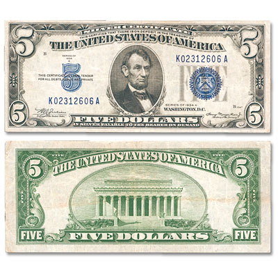 Image for 1934A $5 Silver Certificate from Littleton Coin Company