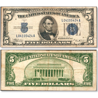 Image for 1934B $5 Silver Certificate from Littleton Coin Company