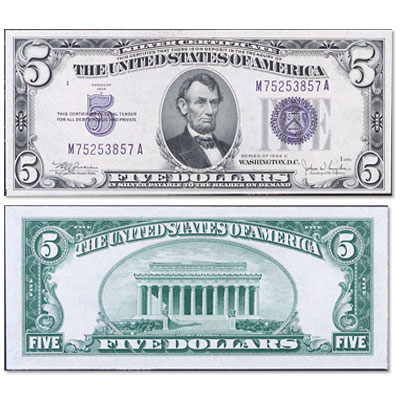 Image for 1934C $5 Silver Certificate from Littleton Coin Company