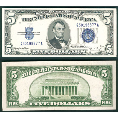Image for 1934D $5 Silver Certificate from Littleton Coin Company
