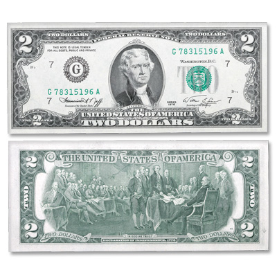 Image for Series 1976 $2 Federal Reserve Note from Littleton Coin Company