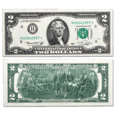 Image for 1976 $2 Federal Reserve Star Note from Littleton Coin Company