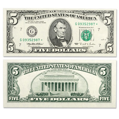Image for Series 1995 $5 Federal Reserve Star Note from Littleton Coin Company