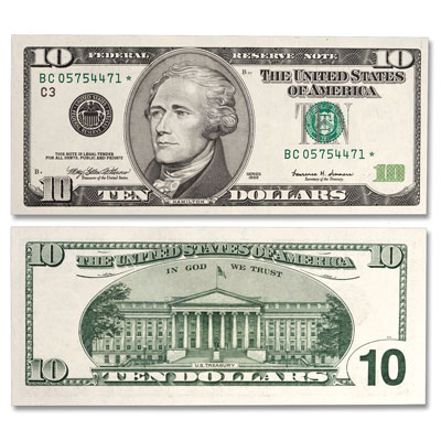 Image for 1999 $10 Federal Reserve Star Note from Littleton Coin Company