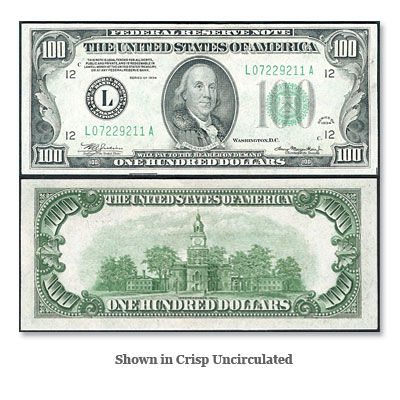 Image for Series 1934 $100 Federal Reserve Note from Littleton Coin Company