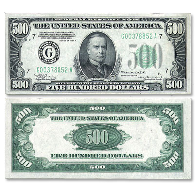 Image for 1934A $500 Federal Reserve Note from Littleton Coin Company
