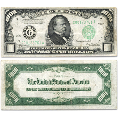 Image for 1934 $1000 Federal Reserve Note, Chicago from Littleton Coin Company