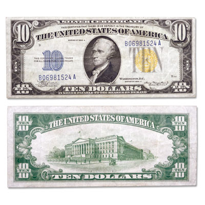 Image for 1934A $10 Silver Certificate, Yellow Seal from Littleton Coin Company