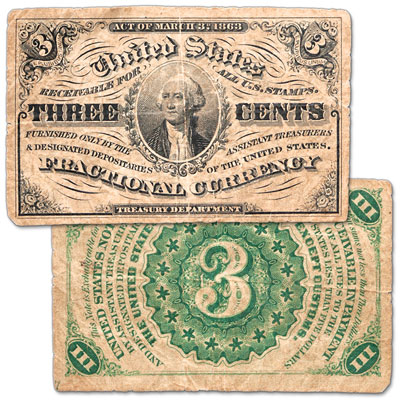 Image for 1864-1869 3¢ Fractional Note from Littleton Coin Company