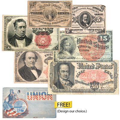 Image for 1862-1876 Complete Fractional Currency Denomination Set with FREE Civil War Cover from Littleton Coin Company