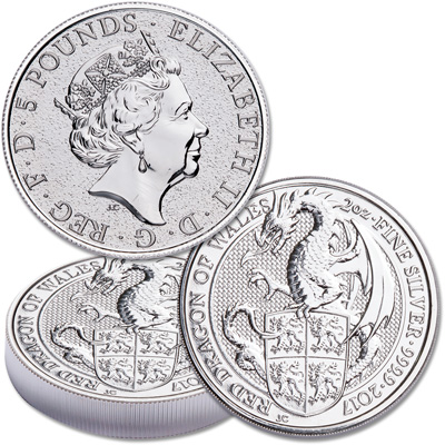Image for 2017 Great Britain 2 oz. Silver Queen's Beasts - Mythical Dragon from Littleton Coin Company