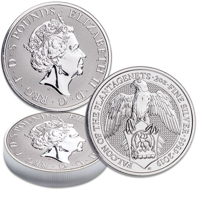 Image for 2019 Great Britain 2 oz. Silver £5 Falcon from Littleton Coin Company