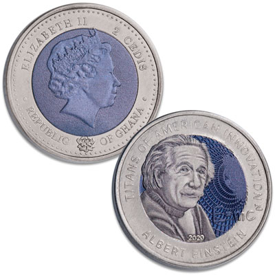 Image for 2020 Ghana 2 Cedis Titanium Albert Einstein from Littleton Coin Company