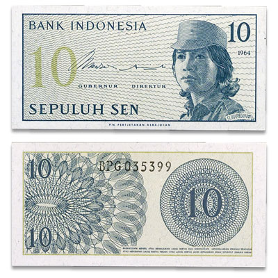 Image for 1964 Indonesia 10 Sen, P#92, Uncirculated from Littleton Coin Company