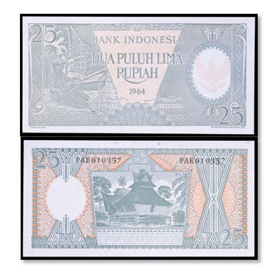 Image for 1964 Indonesia 25 Rupiah, P#95, Uncirculated from Littleton Coin Company