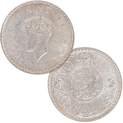 Image for 1940-1942 India Silver 1 Rupee, Uncirculated from Littleton Coin Company