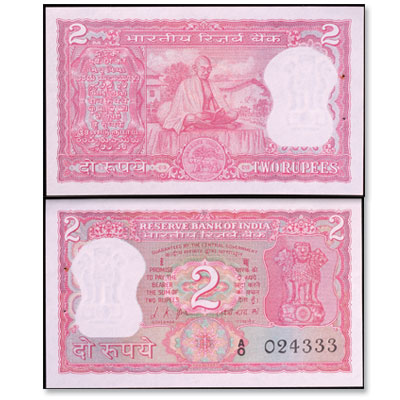 Image for ND (1969-1970) India 2 Rupees, P#67, Uncirculated from Littleton Coin Company
