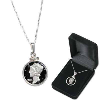Image for Mercury Dime Enameled Necklace with Chain from Littleton Coin Company