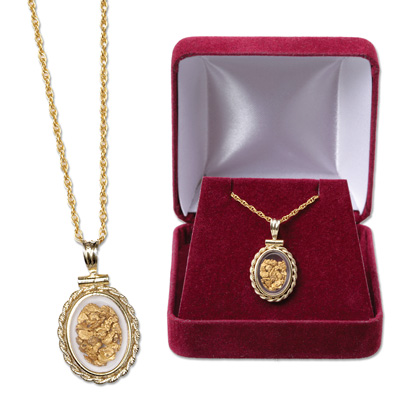 Image for Small Oval Bezel Gold Flakes Necklace from Littleton Coin Company