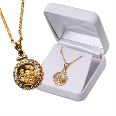 Image for Small Round Bezel Gold Flakes Necklace from Littleton Coin Company