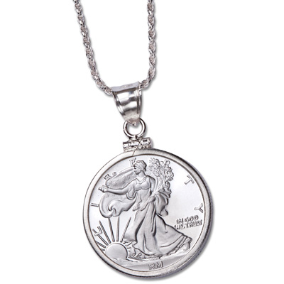 Image for 1/4 oz. Silver Round Liberty Walking Pendant from Littleton Coin Company