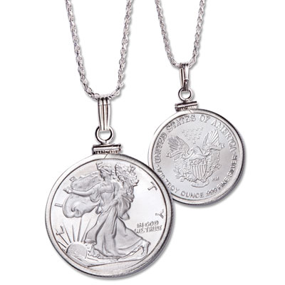 Image for 1/10 oz. Silver Round Liberty Walking Necklace from Littleton Coin Company