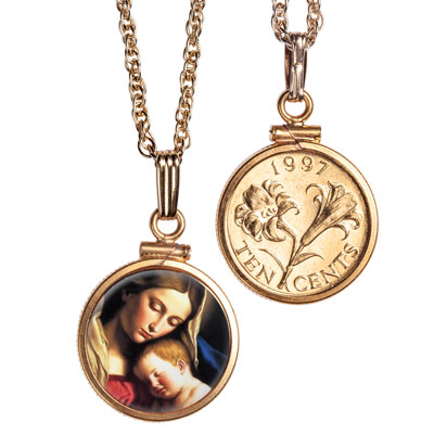 Image for Madonna & Child Gold-Plated Necklace from Littleton Coin Company
