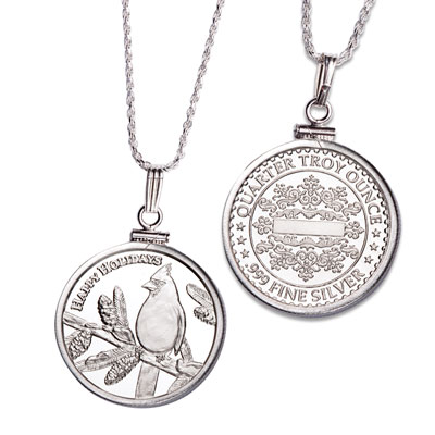 Image for Cardinal Silver Round Necklace from Littleton Coin Company