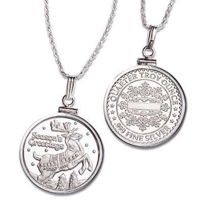 Image for Reindeer Silver Round Necklace from Littleton Coin Company