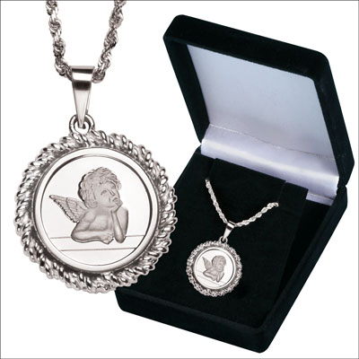 Image for Silver Guardian Angel Necklace from Littleton Coin Company
