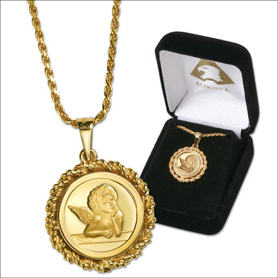 Image for Gold-Plated Silver Guardian Angel Necklace from Littleton Coin Company