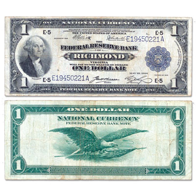 Image for 1918 $1 Federal Reserve Bank Note from Littleton Coin Company