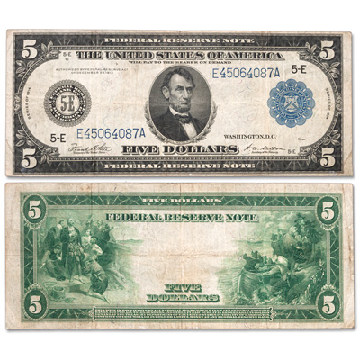 Image for Series 1914 $5 Large-Size Federal Reserve Note from Littleton Coin Company