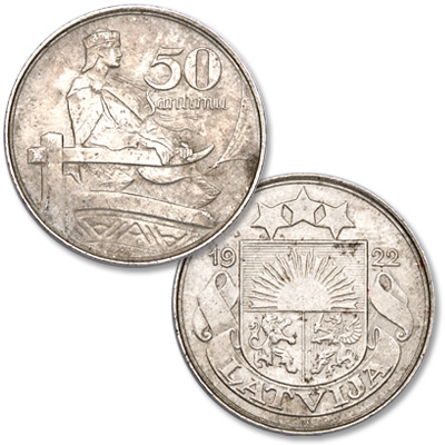 Image for 1922 Latvia Nickel 50 Santimu from Littleton Coin Company