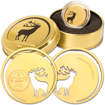 Image for 2017 Mongolia 1/2 oz. Sterling Silver Gold-Plated Deer from Littleton Coin Company
